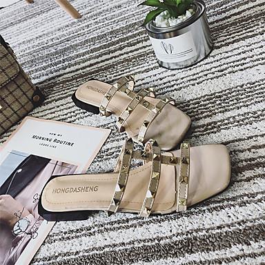 PU Confort Remache Dedo cuadrada Zapatos Mujer 06781774 Verano Plano Tacón Negro Blanco Almendra Sandalias xSfWZ