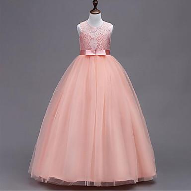 رخيصةأون ملابس الأميرات-فستان بدون كم شريطة / بقع بقع مناسب للحفلات حلو للفتيات أطفال