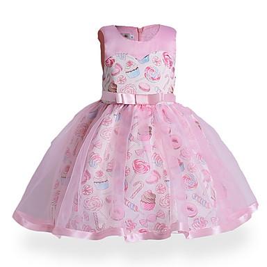tanie Sukienki dla dziewczynek-Dzieci Dla dziewczynek Aktywny Codzienny Geometric Shape Nadruk Bez rękawów Nad kolano Poliester Sukienka Rumiany róż