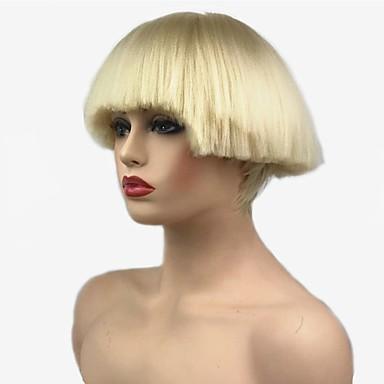 olcso Szintetikus parókák-Szintetikus parókák Egyenes Kardashian Stílus Bob frizura Sapka nélküli Paróka Fekete Blonde Fehér Fekete Szintetikus haj Női szintetikus Fekete / Fehér Paróka Rövid StrongBeauty