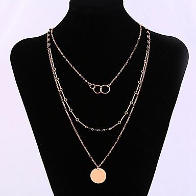 Žene Slojevito slojeviti Ogrlice - Stilski, Klasik Zlato 32+10 cm Ogrlice Jewelry 1pc Za Dnevno