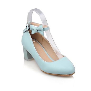Talon Rose Chaussures Bout Femme à Bottier Blanc Noeud été Polyuréthane rond Chaussures Confort Talons Bleu 06783167 Printemps 8fZfdqw