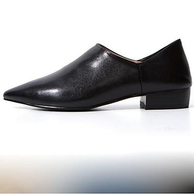 Žene Cipele Mekana koža Proljeće Udobne cipele Cipele na petu Kockasta potpetica Krakova Toe Crn / Žutomrk / Zabava i večer