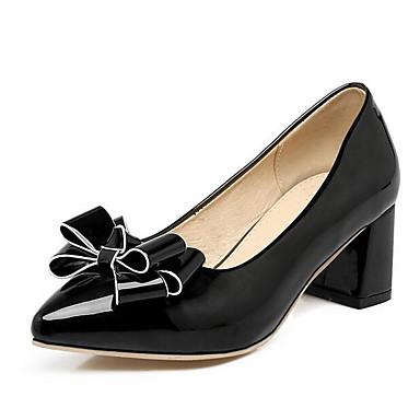 Mujer Patentado Cuero Tacón Cuadrado 06795339 Negro Tacones Zapatos Confort Primavera Rojo Rosa EqxEwYpnrR