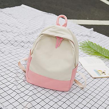 Žene Torbe Platno Školska torba Patent-zatvarač Djetelina / Blushing Pink / Bijela