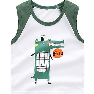 baratos Camisas para Meninos-Infantil Bébé Para Meninos Activo Estampado Sem Manga Algodão Camisa Azul