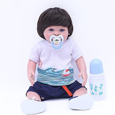 OtardDolls Autentične bebe Za muške bebe 18 inch vjeran Hand Made Ručno zaraženi Moher Umjetna implantacija Plave oči Uvučene i zapečene nokte Dječjom Dječaci / Djevojčice Igračke za kućne ljubimce