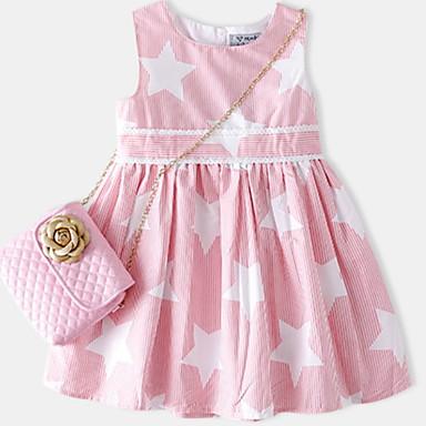 Djeca Djevojčice Aktivan Dnevno Prugasti uzorak Print Bez rukávů Iznad koljena Pamuk / Poliester Haljina Blushing Pink 100
