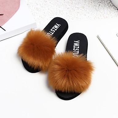 voordelige Damespantoffels & slippers-Dames Slippers & Flip-Flops Platte hak Elastische stof Comfortabel Lente Zwart / Bruin / Wijn