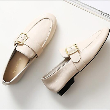 Nappa Cuir Plat Mocassins et Eté Chaussures Printemps Blanc Bout fermé D6148 Chaussons 06797631 Confort Noir Talon Femme qE5P0