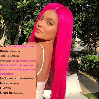 Synthetic Lace Front Wig   Cosplay Wig Women s Straight Middle Part  Synthetic Hair 22-26 886a9a55a