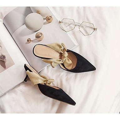 Žene Cipele Brušena koža Ljeto Udobne cipele / Obične salonke Cipele na petu Stiletto potpetica Crn