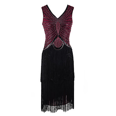 The Great Gatsby 1920s Roaring Twenties Costume Women's Dress Masquerade Flapper Dress Cocktail Dress Sequins Black / Red / black Vintage Cosplay Party Prom Sleeveless Cold Shoulder Knee Length