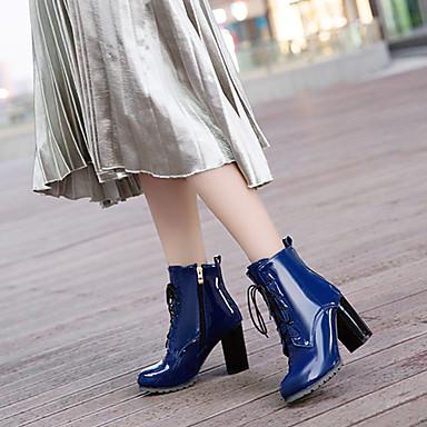 povoljno Ženske čizme-Žene Čizme Cipele s britanskim plavim plažama Kockasta potpetica Krakova Toe PU Čizme gležnjače / do gležnja Modne čizme / Čizmice Jesen zima Crn / Crvena / Plava