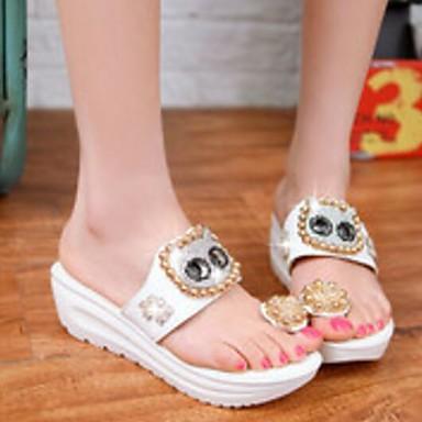 Confort Eté Blanc Creepers Sandales Femme Polyuréthane Jaune Chaussures 06817251 xfqznA7