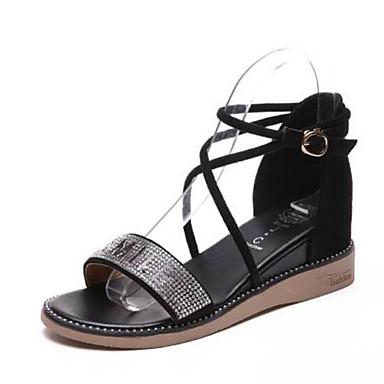 PU Plano Zapatos Negro Confort Sandalias Verano Almendra Tacón 06795428 Mujer n5RgxSx