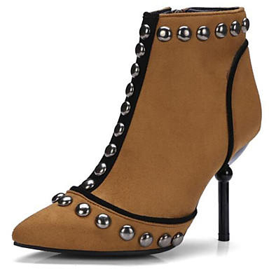 Women's  Shoes Suede Spring &  Women's Fall Bootie Boots Stiletto Heel Pointed Toe Booties / Ankle Boots Rivet Black / Brown / Party & Evening defeea