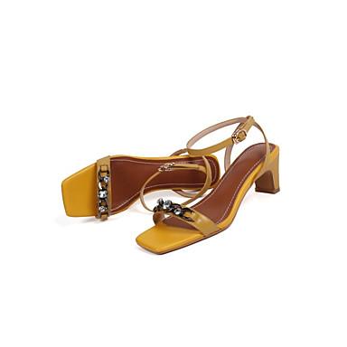 Sandales Eté Cuir 06792302 Blanc Confort Jaune Femme Nappa Talon Chaussures Bottier HXZ1qxw7q