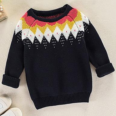 baratos Suéteres & Cardigans para Meninos-Infantil Para Meninos Básico Sólido Manga Longa Suéter & Cardigan Branco