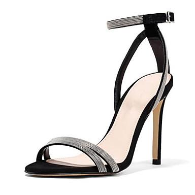 Žene Cipele PU Ljeto Udobne cipele Sandale Stiletto potpetica Otvoreno toe Kopča Crn / Bež