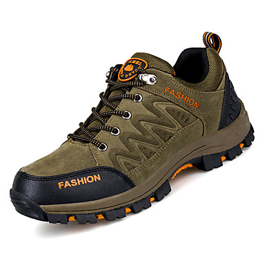 Men's PU(Polyurethane) Fall Comfort Athletic Shoes Walking / Shoes Color Block Gray / Walking Green / Khaki d1ed06