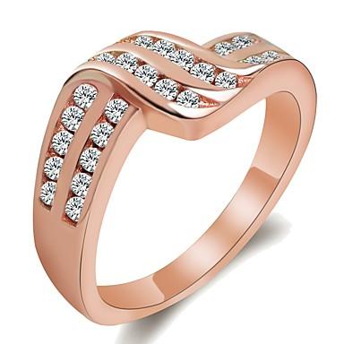 billige Motering-Dame Ring / Micro Pave Ring 1pc Sølv / Rose Gull Messing / Platin Belagt / Gullplatert rose damer / Unikt design / trendy Bryllup / Maskerade / Forlovelsesfest Kostyme smykker / Fuskediamant