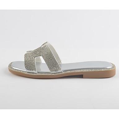 Eté Chaussures Femme Argent amp; 06780708 mouton Talon de Blanc Chaussons Confort Peau Tongs Plat rxBITdr