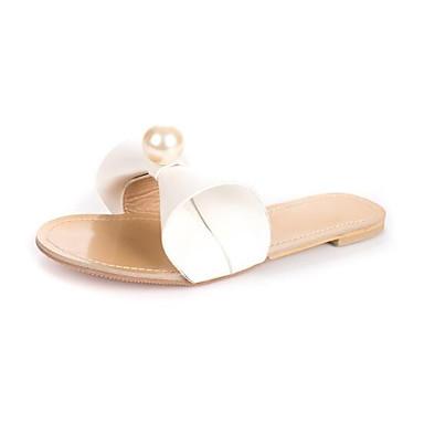 Women's Shoes PU(Polyurethane) Summer Comfort Slippers & Flip-Flops White Flat Heel Open Toe White Flip-Flops / Silver / Pink aa1b37