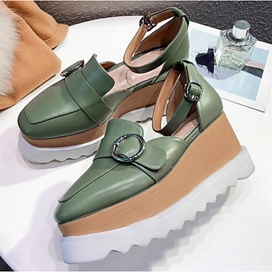 Cuir carré Sandales Orange Vert 06778247 Femme Jane Hauteur Chaussures Mary compensée semelle Bout de Eté Boucle Nappa qa7Z7B5R