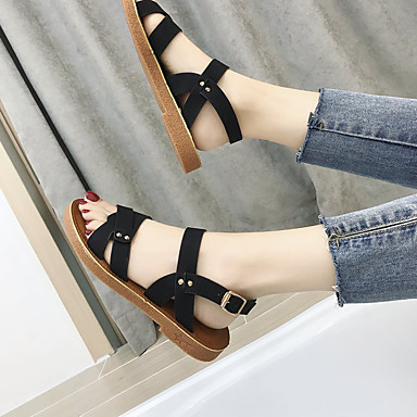 Talón Mujer PU Tacón Descubierto Sandalias 06791991 Plano Zapatos Beige Amarillo Negro Verano q1B1rxw4Wt
