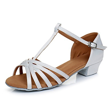 baratos Shall We® Sapatos de Dança-Para Meninas Cetim Sapatos de Dança Latina Salto Salto Cubano Personalizável Branco / Preto / Marron / Couro