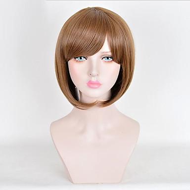 Synteettiset peruukit Suora Tyyli Bob-leikkaus Suojuksettomat Peruukki Ruskea Medium Auburn Synteettiset hiukset 10inch Naisten Cute / Party Ruskea Peruukki Lyhyt Luonnollinen peruukki