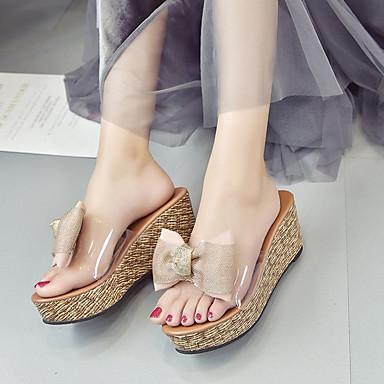 Cuña Zapatillas Pajarita Negro redondo Tacón 06779267 Zapato Verano Cuero Rosa y Zapatos flip flops Sintético Mujer Dedo Verde transparente YqRPwC