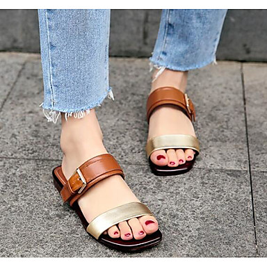 Eté Bas Blanc Talon 06790432 Chaussures Sandales Cuir Nappa Brun claire Femme Confort qt7Za0