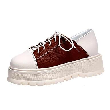 Žene Cipele Eko koža Proljeće Udobne cipele Sneakers Creepersice Okrugli Toe Crn / Braon