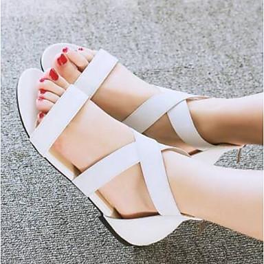 Žene Cipele PU Ljeto Udobne cipele Sandale Niska potpetica Obala / Crn