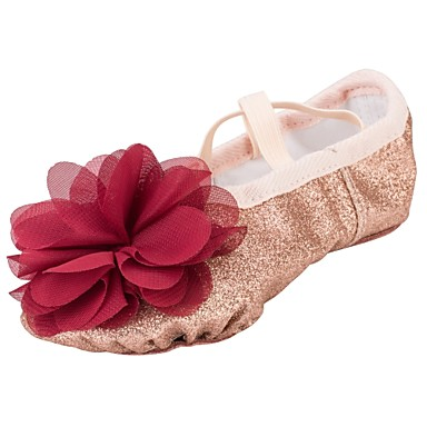 Girls' Ballet Shoes Synthetics Heel Flower Gold Flat Heel Dance Shoes Gold Flower d882d0