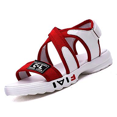 Žene Cipele Platno Ljeto Udobne cipele Sandale Niska potpetica Otvoreno toe Obala / Crn / Crvena
