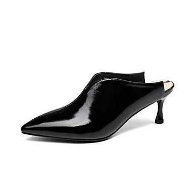 Femme Aiguille amp; Printemps Chaussures Cuir Talon Blanc Confort 06780666 Noir Sabot Mules Nappa zqBzrUw4