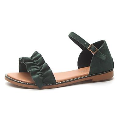 Žene PU Ljeto Udobne cipele Sandale Ravna potpetica Otvoreno toe Crn / Bež / Zelen