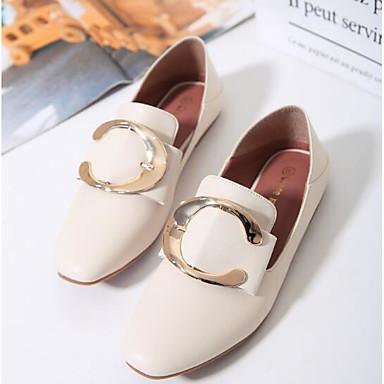 Zapatos Zapatos Plano Blanco Confort bajo 06833063 y Punta cerrada Negro Primavera Tacón Verano Slip Mujer de taco On PU OXwqdFF