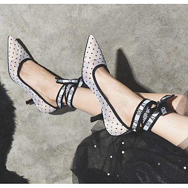 Femme à Eté Chaussures Talon Blanc Confort Talons Maille Chaussures 06838054 Aiguille raSqXr