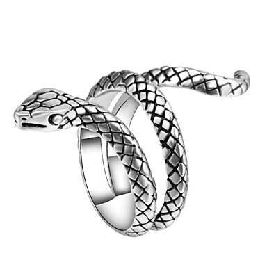 voordelige Herensieraden-Heren Statement Ring Ring обернуть кольцо 1pc Zilver Legering Onregelmatig Vintage Punk modieus Carnaval Club Sieraden Sculptuur Slang Dier Cool