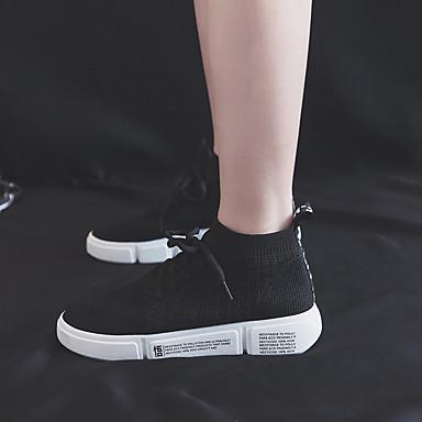 06833416 Talon Blanc Plat Chaussures Pied d'Athlétisme Course Bout à Confort Maille Chaussures Femme Noir Eté rond Marche Coton xTHwPqxp1