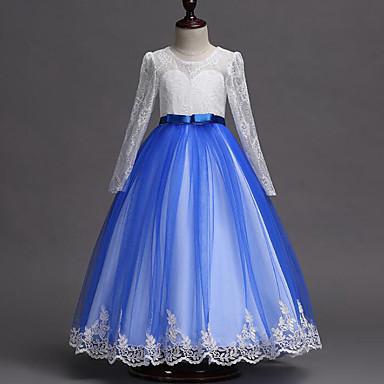 رخيصةأون ملابس الأميرات-فستان 3/4 الكم دانتيل / بقع بقع مناسب للحفلات حلو للفتيات أطفال