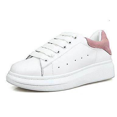 Chaussures Nappa fermé Bout Femme Talon Plat Basket 06840333 Cuir Printemps Noir Blanc Confort RfxqUWn