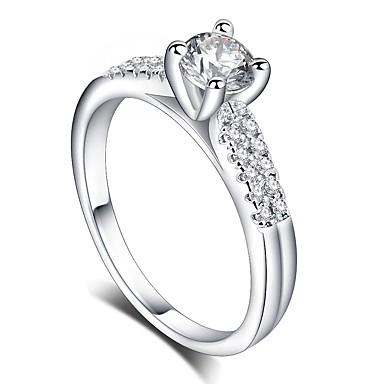 billige Motering-Dame Ring 1pc Sølv Messing Platin Belagt Fuskediamant Fire tenger damer Romantikk Mote Bryllup Gave Smykker Elegant HALO Kjærlighed Glede Søtt
