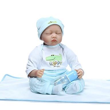 NPKCOLLECTION Autentične bebe Za muške bebe 24 inch vjeran Ručni primijenjeni trepavice Uvučene i zapečene nokte Dječjom Dječaci / Djevojčice Igračke za kućne ljubimce Poklon / Prirodni ton kože