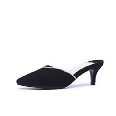 Noir Femme Gris Eté de Escarpin Mules Basique Chaussures Aiguille Peau Sabot Confort amp; mouton 06791467 Talon 6TrqO6nR