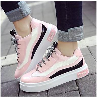 Dame laklæder Forår sommer Komfort Sneakers Flade hæle Hvid / Sort / Lys pink